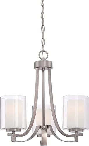 Minka Lavery Chandelier Pendant Lighting 4103-84, Parsons Studio Dining Room, 3 Light, Nickel