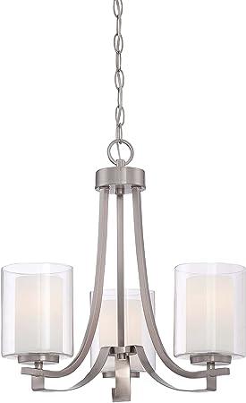 Minka Lavery Chandelier Pendant Lighting 4103-84, Parsons Studio Dining Room, 3 Light, Nickel