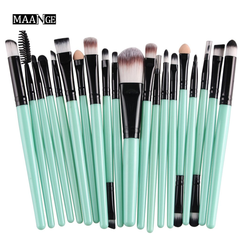 CINIDY 20 pcs Makeup Brush Set tools Make-up Toiletry Kit Wool Make Up Brush Set (Black)