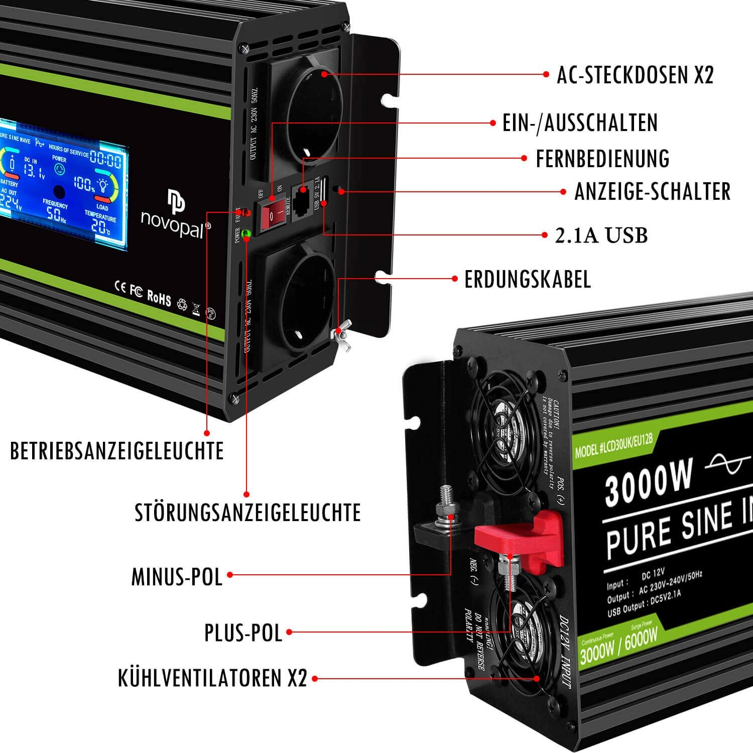novopal Power Inverter Pure Sine Wave-3000 Watt 12V DC to 230V//240V AC Converter-LCD Display 2AC Outlets Car Inverter with One USB Port-5 Meter Remote Control And Two Cooling Fans-Peak Power 6000 Watt