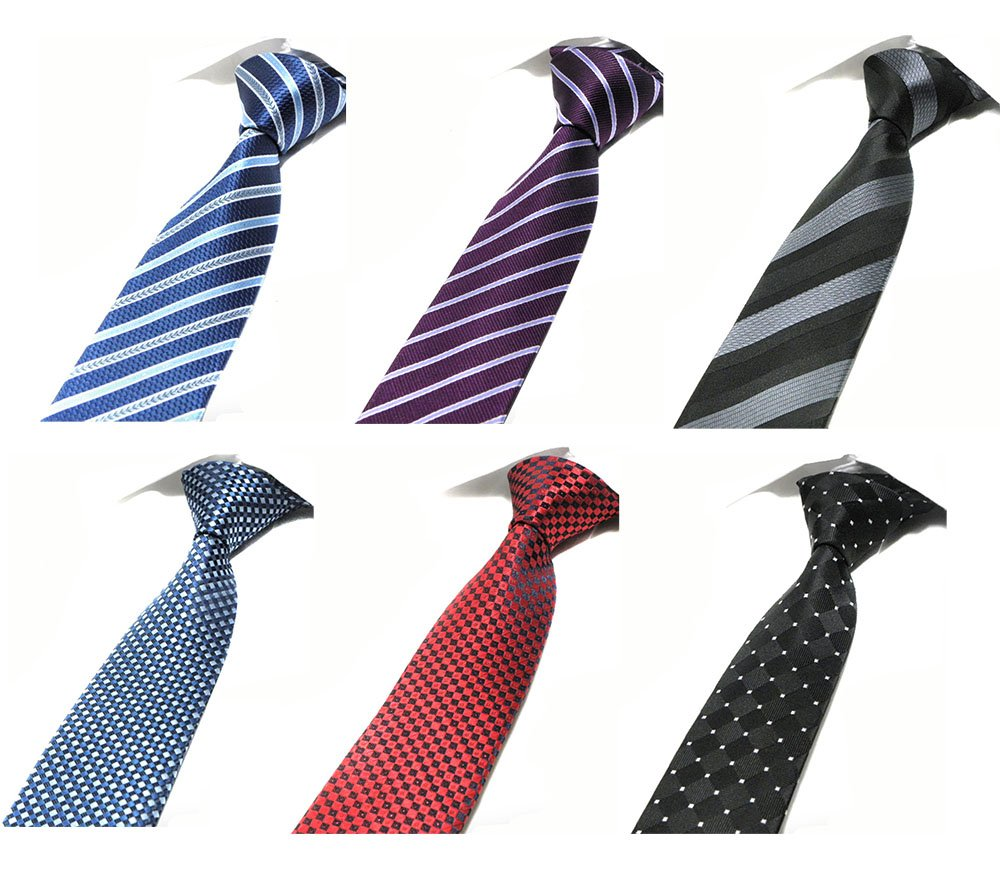 Tiger Mama 6pcs Business Skinny Necktie Tie Mixed Lot - Set 1