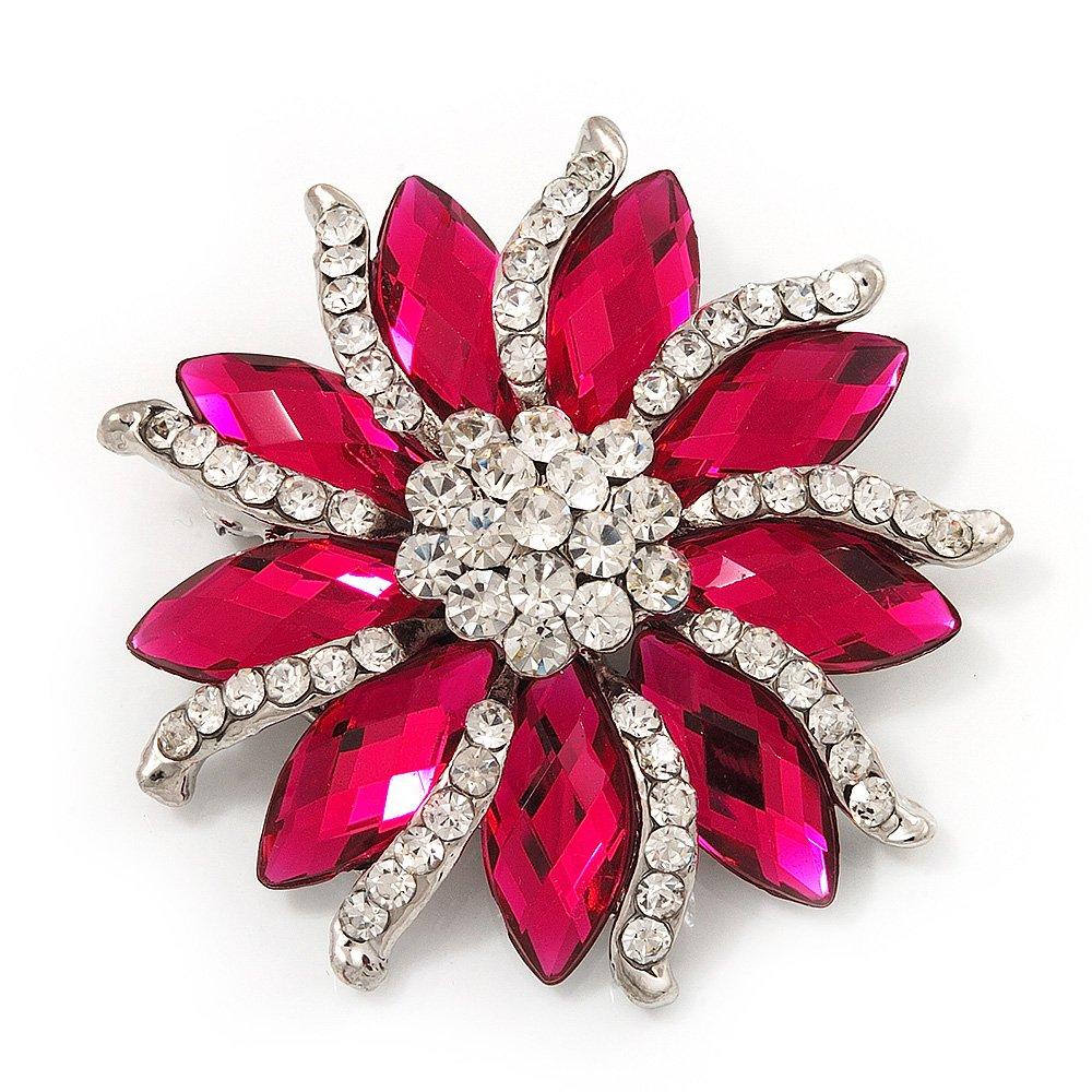 Magenta/Clear Diamante Floral Corsage Brooch In Silver Metal - 5.5cm Diameter