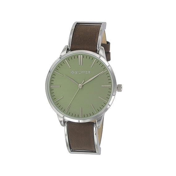 Reloj Bilyfer para Mujer con Correa en Marron y Pantalla en Verde 1F629-M: Amazon.es: Relojes