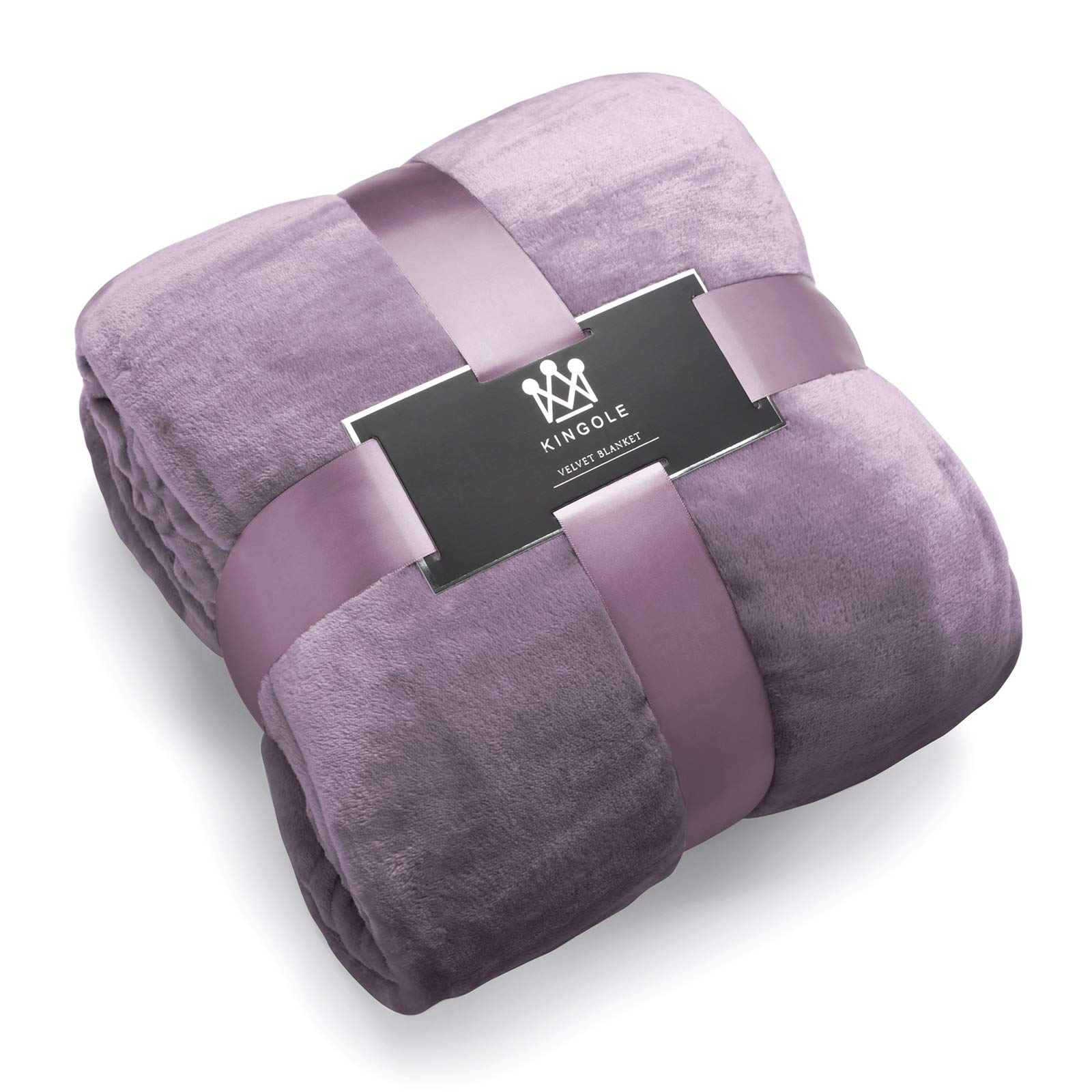 Kingole Flannel Fleece Microfiber Throw Blanket, Luxury Lavender Purple Queen Size Lightweight Cozy Couch Bed Super Soft and Warm Plush Solid Color 350GSM (90''x90)