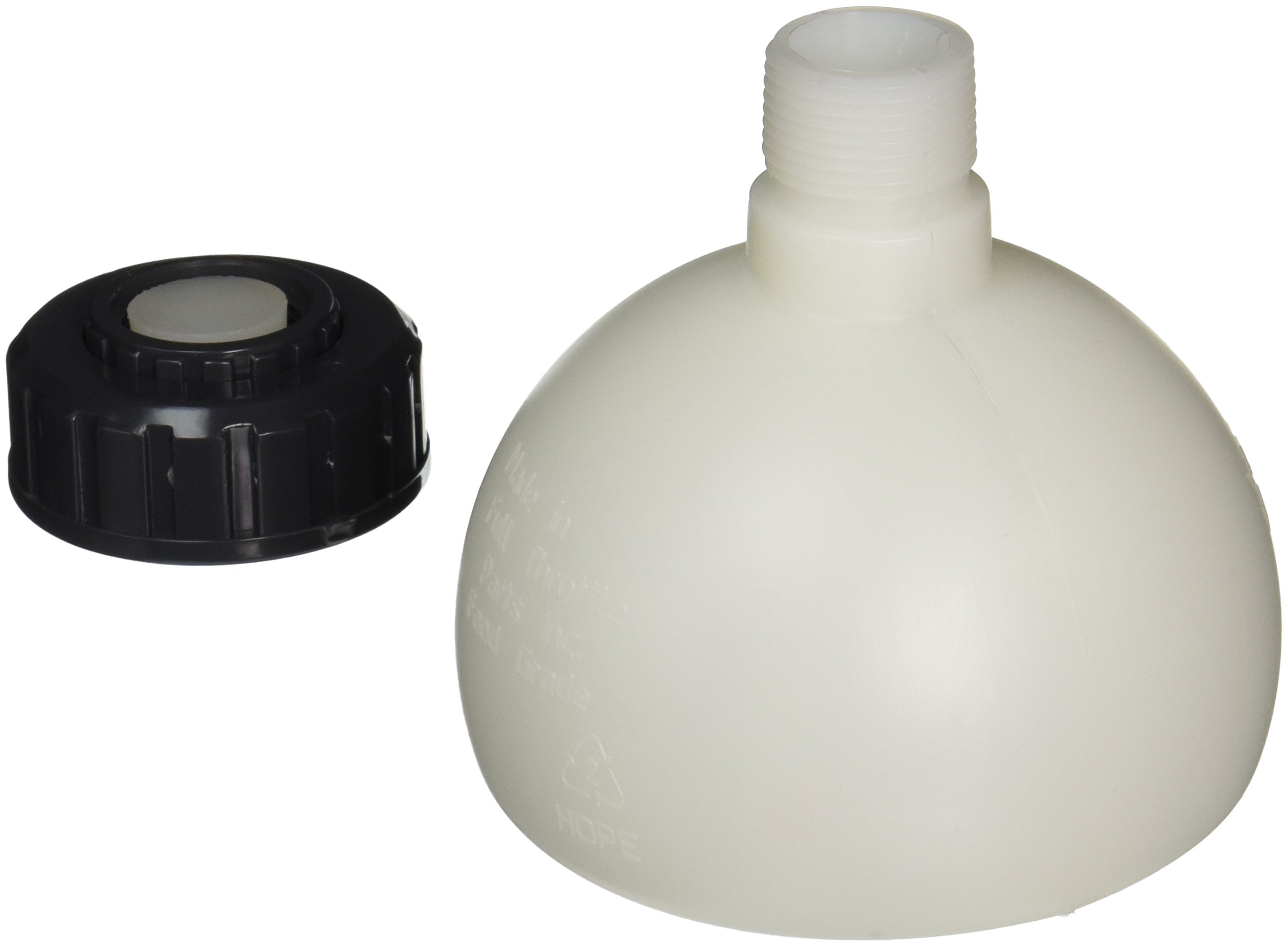 FastFerment Yeast Harvesting Collection Ball - No more Sediment Contamination! Flat bottomed design for your home-brew kit. Rubber bung and teflon tape included (Collection Ball 7.9 Gallon)