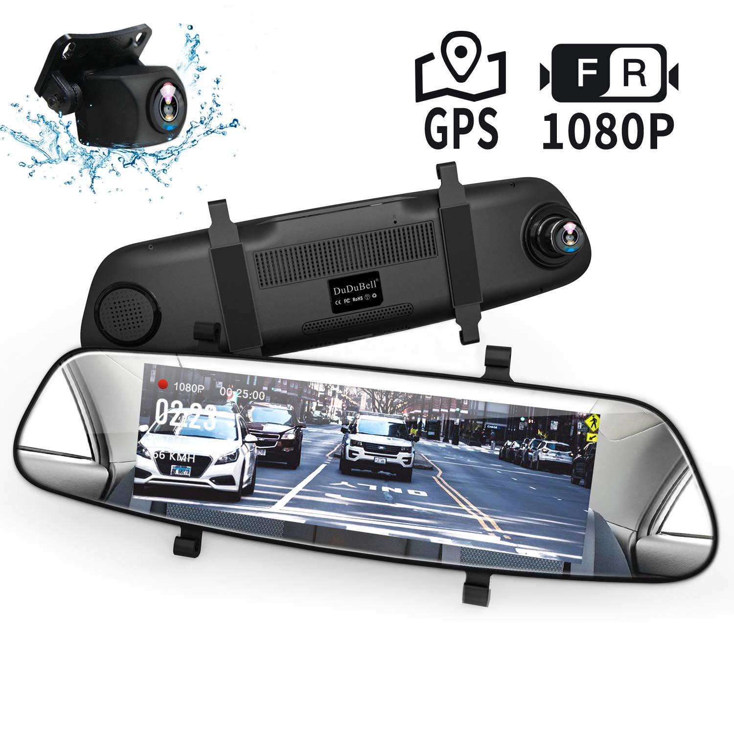 Mirror Dash Cam, DuDuBell 7'' Backup Camera with External GPS, 1080P Front and 1080P Rear Camera with Starlight Night Vision IPS Touch Screen 290° Wide Angle, Reverse Assistance Parking Monitor HDR+ by DuDuBell