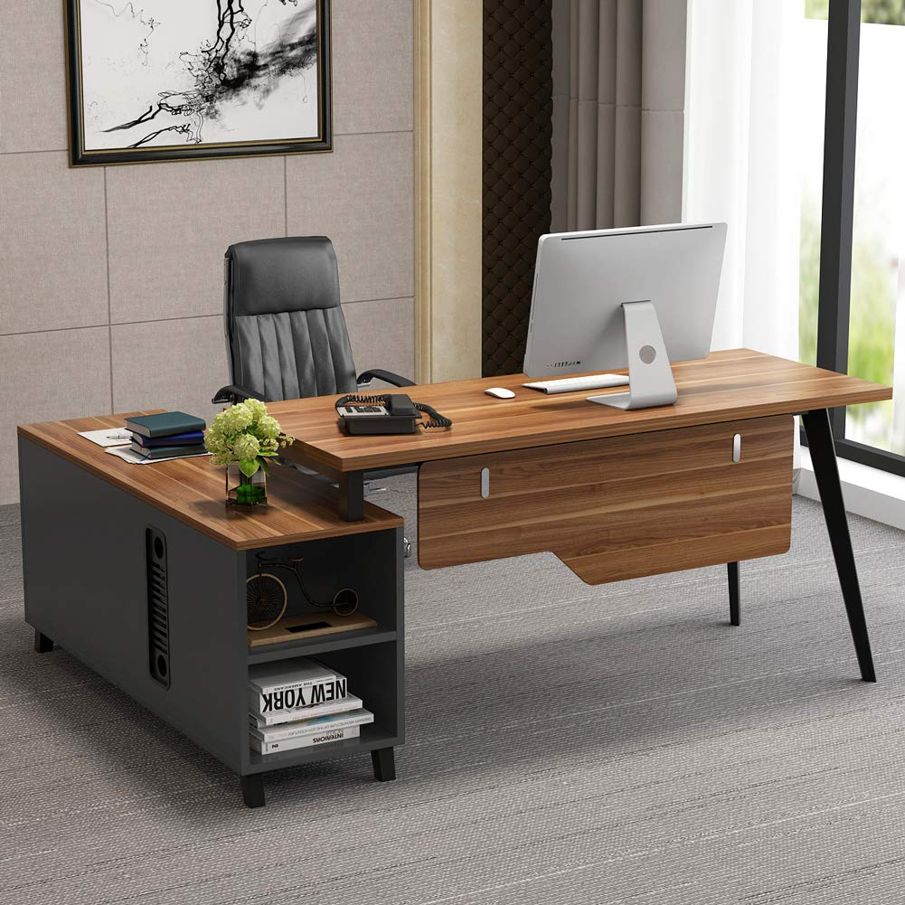 Tribesigns L-Shaped Desk, Large Executive Office Desk Computer Table Workstation with Storage, Business Furniture with File Cabinet, Dark Walnut + Stainless Steel Legs by Tribesigns