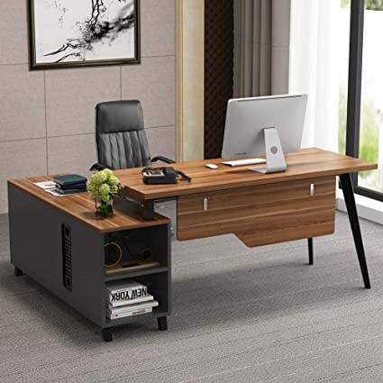 L-Shaped Desk, Tribesigns Large Executive Office Desk Computer Table  Workstation with Storage, Business Furniture with File Cabinet, Dark Walnut  + ...