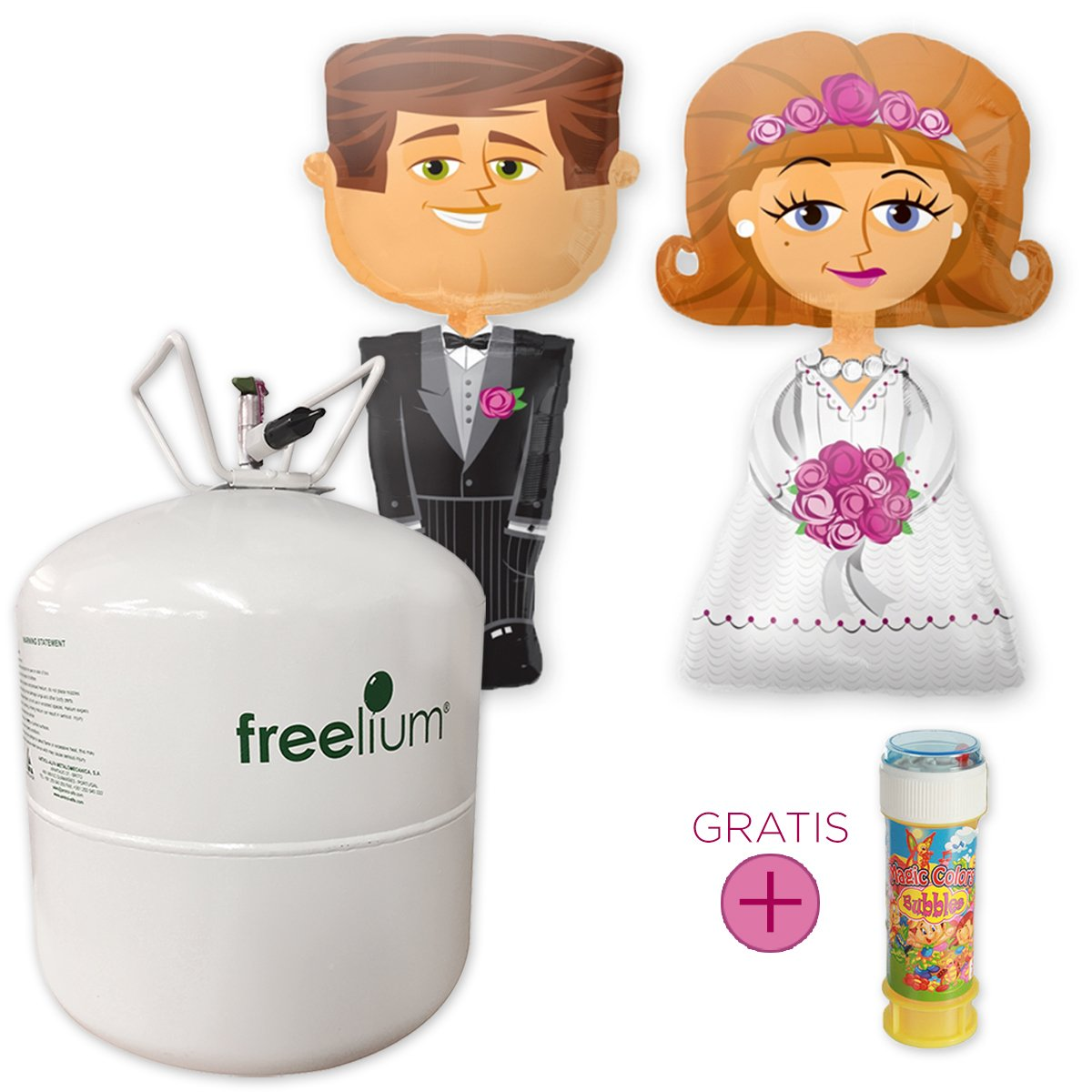 Hochzeits-Set: freelium® go 410 Helium Jumbo Flasche + Airwalker Brautpaar Braut & Bräutigam + GRATIS Seifenblasen