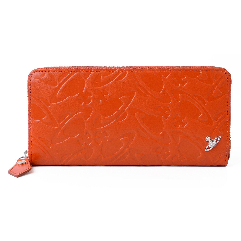 [名入れ可] (ヴィヴィアンウエストウッド) Vivienne Westwood レザー ロング ウォレット WATER ORB エンボス 本革 長財布 VWK284-42-F B076P6D6YKオレンジ 名入れあり