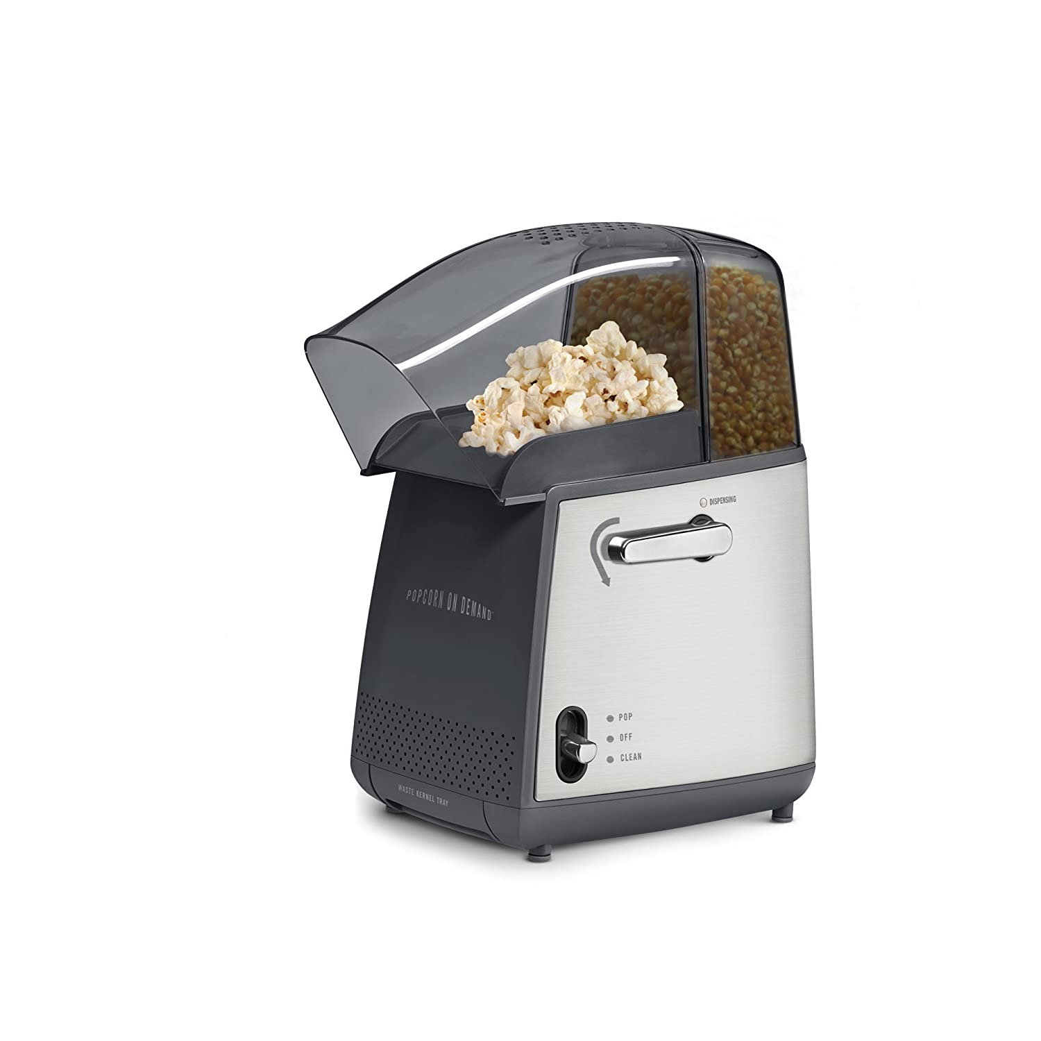 West Bend 82700 Popcorn on Demand Hot Air Popcorn Popper Machine Pops Up to 4-Quarts Popcorn Using Hot Air Portion Control Lever and Cleaning Cycle, Silver