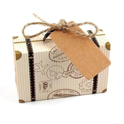 SODIAL 50 piezas de Mini Caja de dulces emn forma de Maleta de Kraft Cajas de