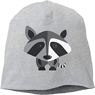 BUZRL Hip-Hop Knitted Hat for Mens Womens Little Gray Raccoon Unisex Cuffed Plain Skull Knit Hat cap Head cap Unisex Funny Fashion