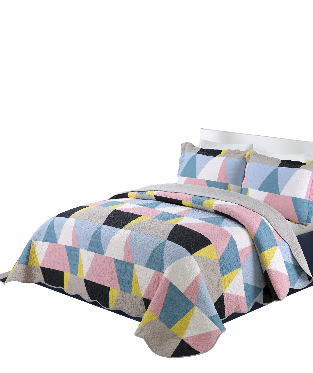 vivinna home textile Cotton Quilt Twin Size Sets- Patchwork Bedspread Blanket (Geometry, Twin:68''X88'')
