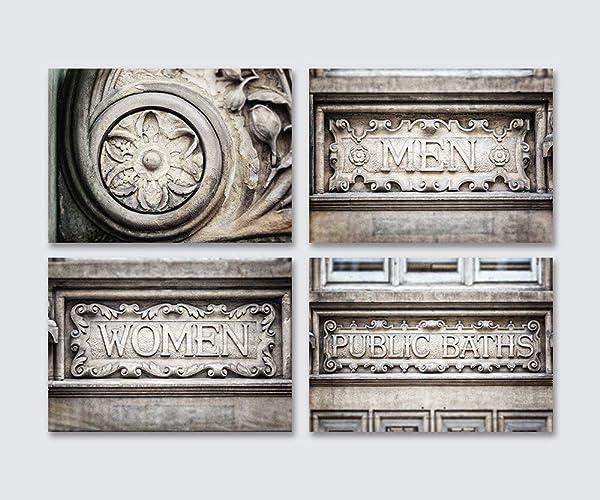 Amazon Com Industrial Gray Bathroom Wall Art Decor Set Of 4