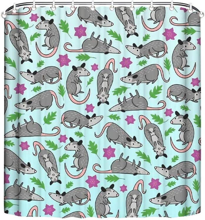Noick Opossum Pattern Boutique Shower Curtain Hooks Polyester Home Decor 72x80Inch