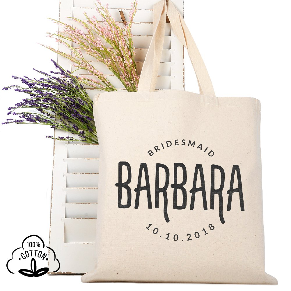 Personalized Tote Bag Natural Cotton Wedding Bridal Party | DSG#2 | set of 3