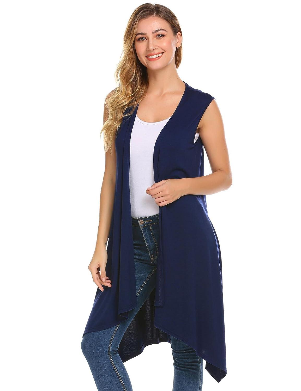 Grabsa Women/'s Casual Open Front Sleeveless Cardigan Asymmetric Hem Long Vest