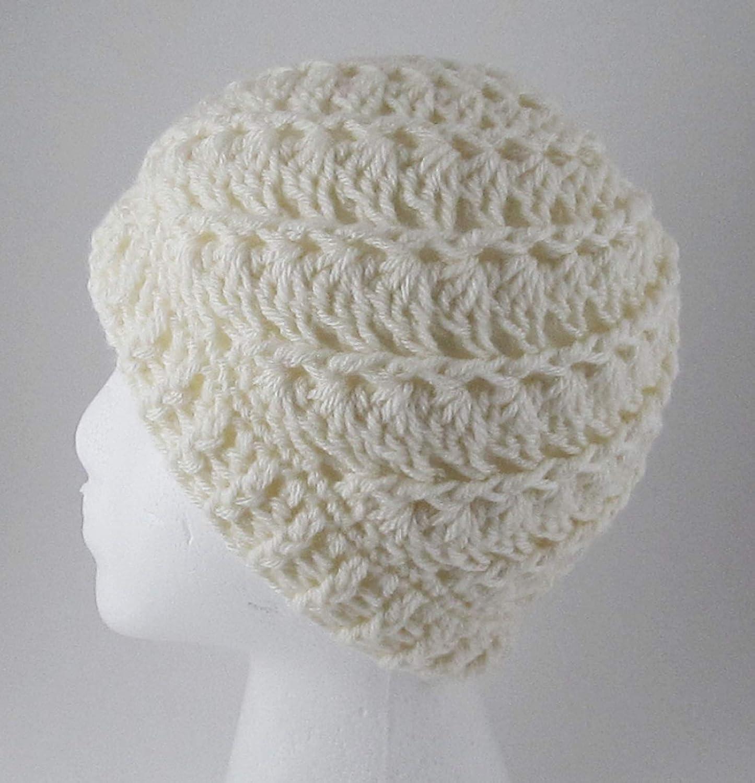 Amazoncom White Crochet Messy Bun Hat Ivory Ponytail Hat Handmade