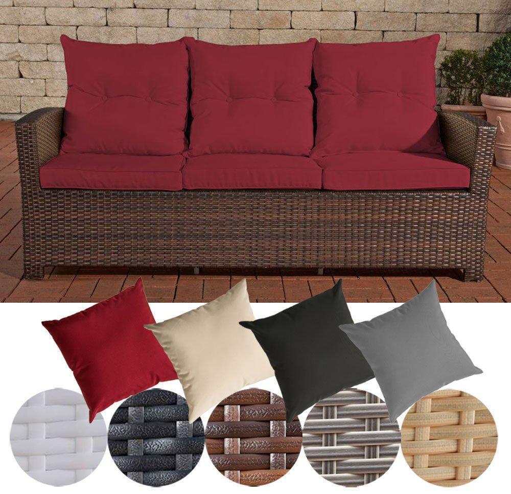 CLP Poly-Rattan 3er Sofa FISOLO, Aluminium Gestell - 100% rostfrei - inkl. Kissen & Auflagen Rattan Farbe braun-meliert, Bezugfarbe: Rubinrot