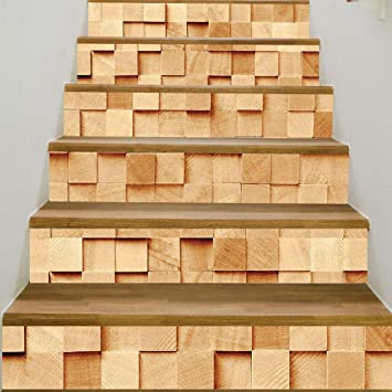3D auto-adhesivos Pegatinas de Escalera Decoración -Escalera creativa sala de estar DIY decoración de cubo de madera: Amazon.es: Bricolaje y herramientas