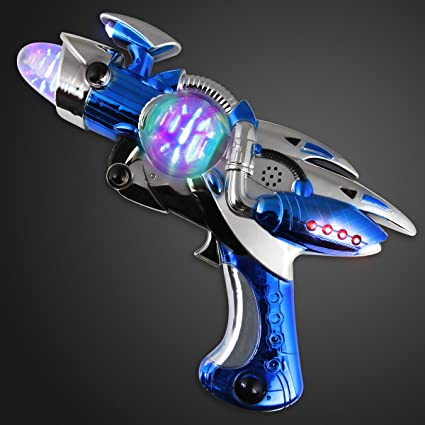 FlashingBlinkyLights Large Blue Light Up Toy Gun with Sound Effects