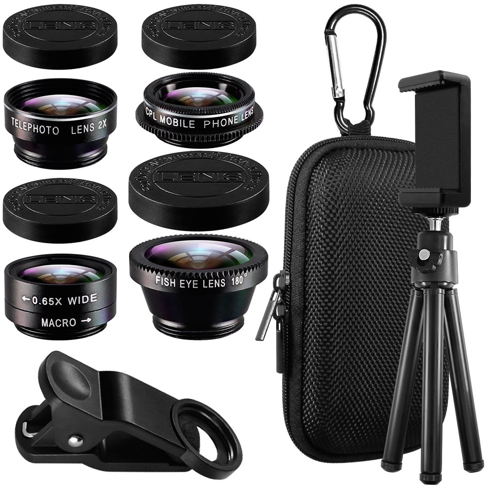3 in 1 Cell Phone Camera Lens Kit, AFUNTA HD Clip-on 15X Macro and 0.36X Super Wide Angle Lens, 180 Degree Fisheye Lens for iPhone Samsung Most Smartphones AF-3in1_fisheye_lens