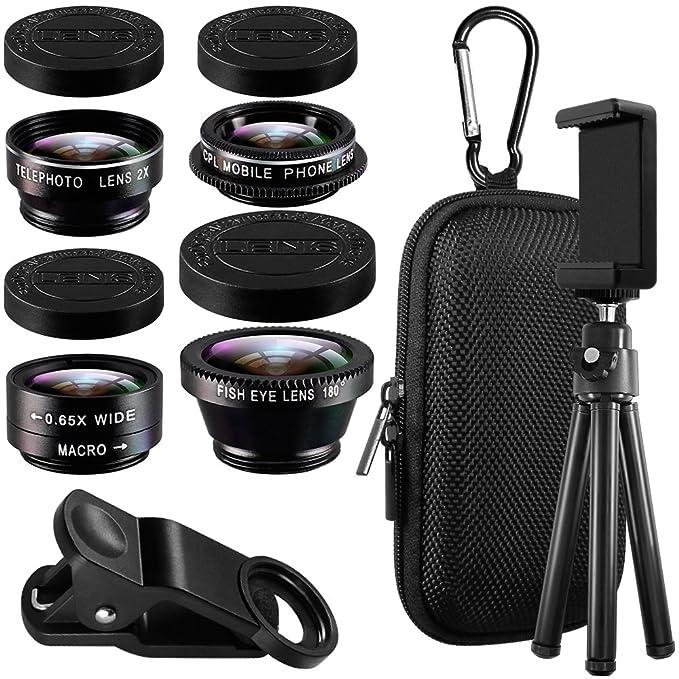 11 opinioni per Lenti per cellulare con Treppiede, AFUNTA Clip-on 5 in 1 kit Fotocamera Lente