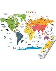 HomeEvolution Kids Educational Removable World Map Peel and Stick Large Wall Decals Stickers for Children Nursery Bedroom Living Room