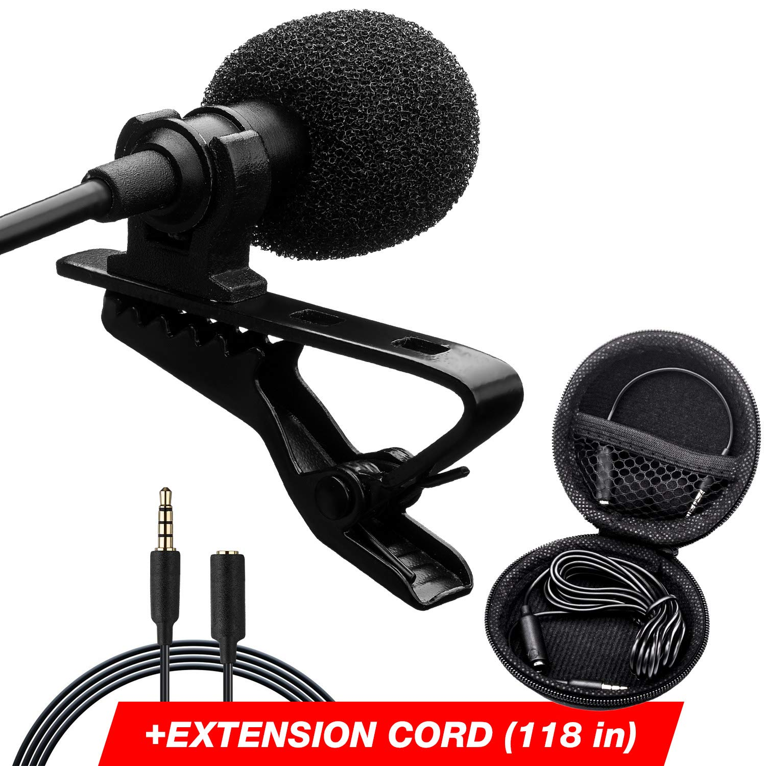 Professional Lavalier Lapel Microphone - Long Cord Lapel Mic - Iphone Microphone for Podcast YouTube Recording Interview Voice Dictation Speech - with Easy Clip-On System by GetJets