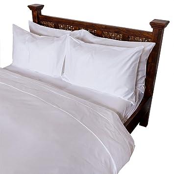Homescapes Luxus Baumwoll Satin Bettwäsche 135x200 Cm 2 Tlg Weiß