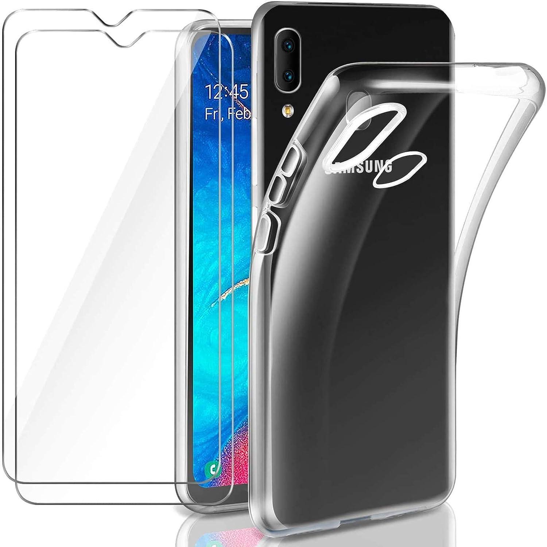 Leathlux Coque Compatible avec Samsung Galaxy A20e Transparente avec 2 Verre trempé Protection écran, Souple Silicone Étui Protection Bumper Housse ...