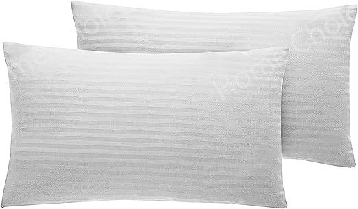 100% algodón egipcio satinada par de almohada fundas de almohada de satén funda de almohada de color blanco: Amazon.es: Hogar