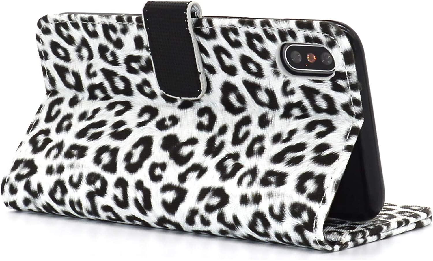 Chanroy Compatible with iPhone Xs Max(6.5 inch) Leather Leopard Partten Case Flip Cover - Premium Ultra Thin with Magnetic Closure Genuine Leather Wallet Book Folio Flip Case for iPhone Xs Max(White)