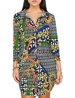 YouSexy Women s Sexy Floral Print Simple Button Down Long Sleeve Collar  Loose T-Shirt Blouse c7005c884