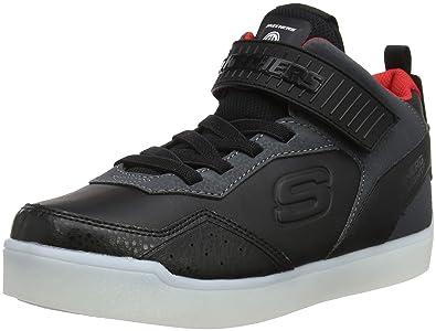 f08d13f3927092 Skechers Jungen Energy Lights Hohe Sneaker Schwarz (Black Red BKRD) 27 EU