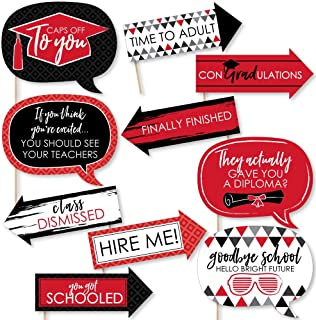 product image for Big Dot of Happiness Funny Red Grad - Best is Yet to Come - Red Graduation Party Photo Booth Props Kit - 10 Piece