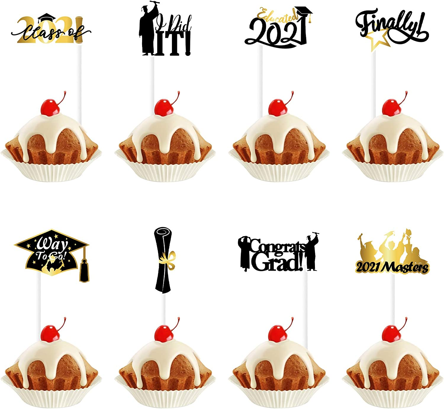 Congrats 2021 Cake Topper Graduation Theme Black Gold Glitter Party Decor Picks for Class of 2021 Party Decorations Supplies