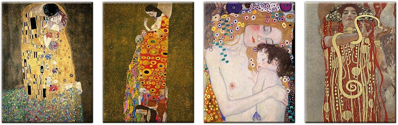 LuxHomeDecor Cuadros Gustav Klimt El Beso Medicina Hope Las Tres Edades de una Mujer 4 Piezas 40 x 30 cm Impresión sobre Lienzo con Marco de Madera Arte Decorativo