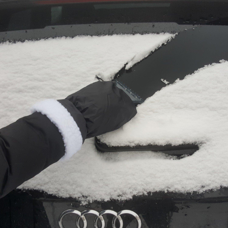 mit Eisbrecherkante umschlie/ßender Gummizug AUPROTEC Eiskratzer mit Handschuh schwarz gef/üttertes Innenfutter