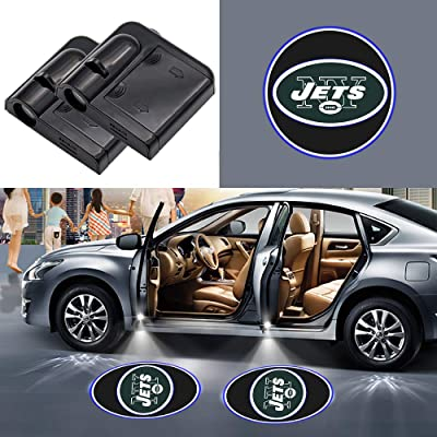2Pcs New York Jets Fit all Car Door Welcome Light NY Wireless LED Ghost Shadow Projector Logo Light Car Door Courtesy Light Lamp Suitable For All Brands Of Cars (New York Jets): Automotive