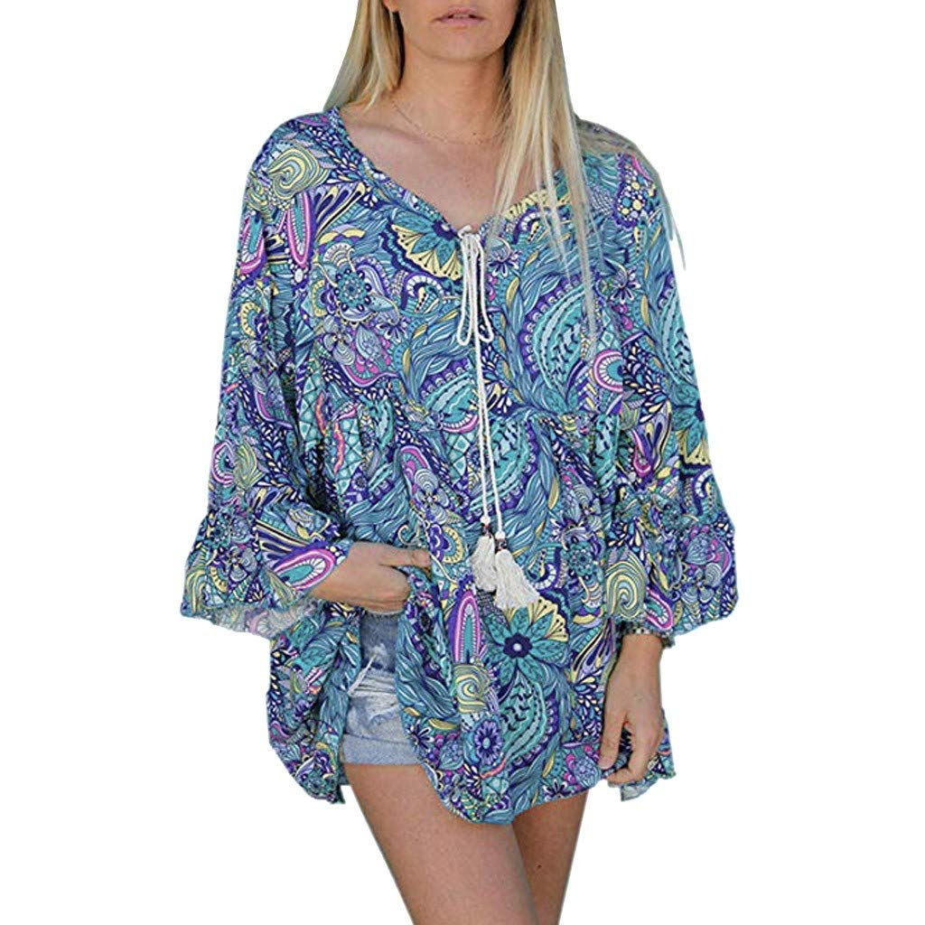 Ximandi Womens Long Sleeve Drawstring V Neck Floral Print Casual Loose T Shirt Tops