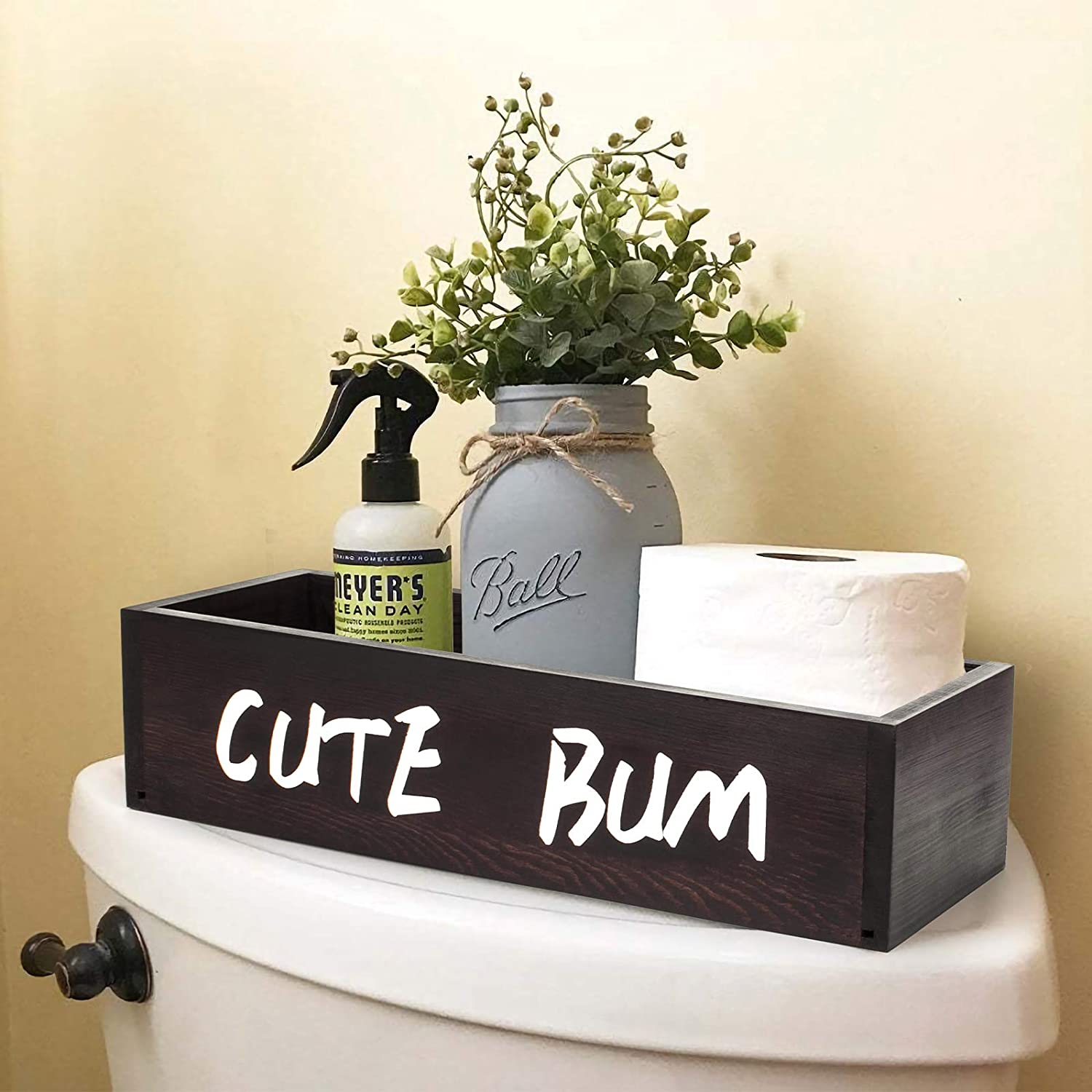 AKKO Bathroom Decor Box Perfect Toilet Paper Organizer Storage for Home Decor Rustic Wood Toilet Paper Holder with 2 Sides Funny Sign
