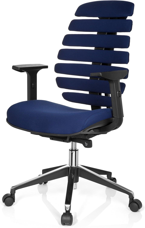 hjh OFFICE 714510 Profi B/ürostuhl Ergo LINE II Stoff Blau Drehstuhl ergonomische R/ückenlehne Lordosenst/ütze