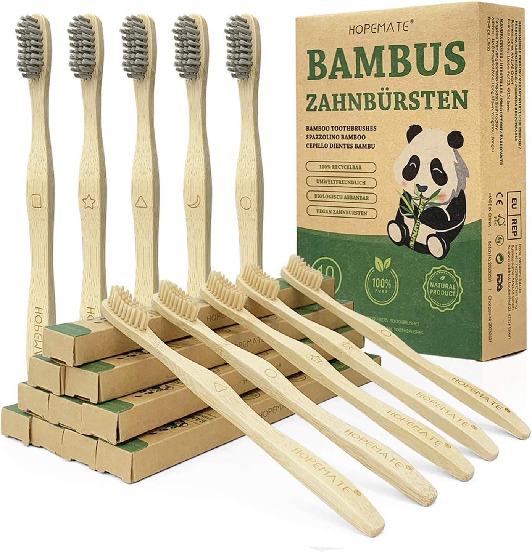 Cepillo Dientes Bambu Paquete de 10, Cepillos Dientes de Fibra Bambú y Carbón Bambú 5 Cada Uno, con Signos Diferentes, Naturales y Veganos para Mejor Limpieza, Embalaje Reciclable, 100% Libre de BPA: