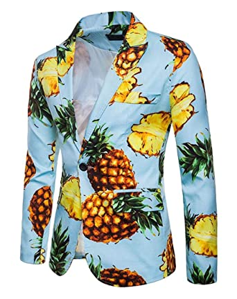 e1bace179bd XTX Men Casual One Button Pineapple Print Long Sleeve Regular Fit Blazer  Jacket at Amazon Men s Clothing store