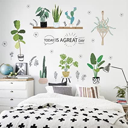 ufengke décor, adesivo da parete con piante in vaso, decorazione da ...