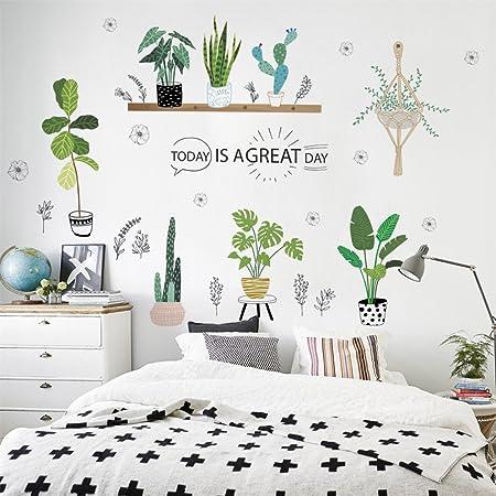 ufengke décor, adesivo da parete con piante in vaso ...