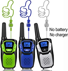 Walkie Talkies 3 Pack, Easy to Use Long Range Walky Talky Handheld Two Way Radio with NOAA for Hiking Camping (No Charger and Batteries)