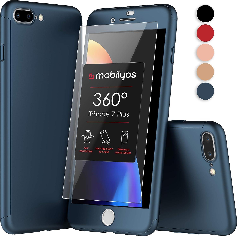 Mobilyos Funda iPhone 7 Plus 360 Grados Completa - Carcasa Integral con X2 Protector de Pantalla de Vidrio Templado para Apple iPhone 7 Plus - Funda ...
